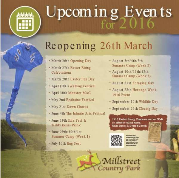 We thank Orlaith for the excellent updates relating to Millstreet Country Park. Click on the Poster to enlarge. (S.R.)