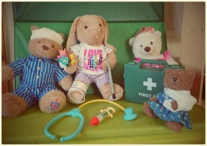 Teddies waiting for the doctor