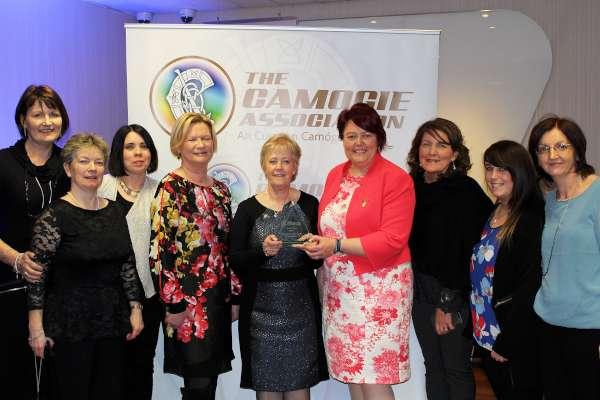 At the highly prestigious event at Croke Park on Saturday, 20th Feb. 2016 at which Joan Casey was presented with her superb and richly deserving Award, The award was presented by Catherine Neary president of the Camogie  association. and Eileen Dunne RTE Newsreader.