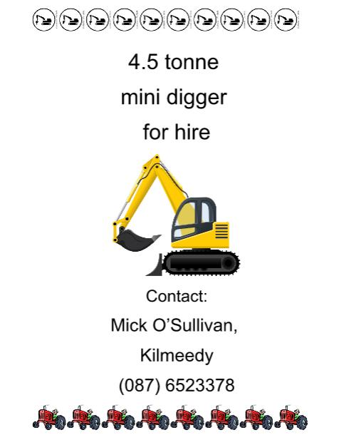 2016-03-10 4-5 tonne mini-digger for hire