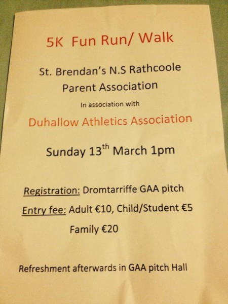 2016-03-13 5K Fun Run Walk - St.Brendan's NS Parents Association - poster