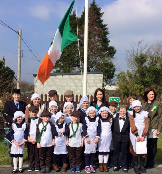 Raising the Irish Tricolour at Hollymount NS [more]