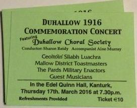 2016-03-17 Duhallow 1916 Commemoration Concert - ticket