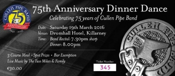2016-03-19 - Cullen Pipe Band 75th Anniversary Dinner Dance - ticket