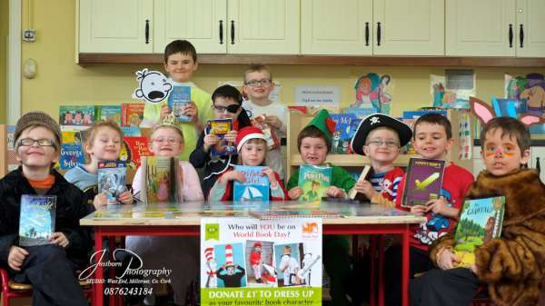 Pupils in Cloghoula National School celebrating World Book Day by reading many books and dressing up as characters from some of their favourite books.