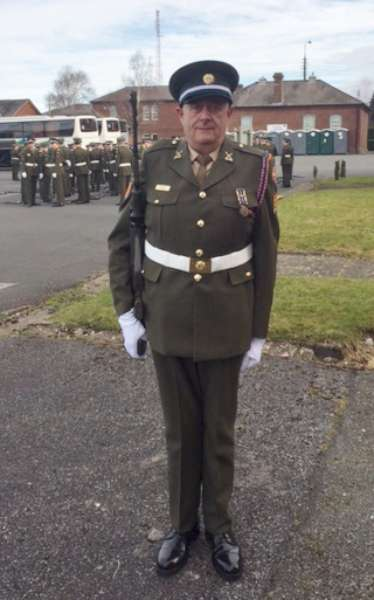 Gordon o Keeffe RDF ( Relief defence force ) of which he has been a member for 39 years. He is part of Company 12th Battalion attached to Sarsfield Barracks in Limerick . He is one of only 200 RDF( Relief defence force ) members and 2,300 members of the PDF ( Permanent defence force ) who will be taking part in the 1916 Easter Sunday commemoration in Dublin on Easter Sunday . They will be marching from Stephens Green via O Connell Street to Parnell Street with ceremonies at The Royal College of Surgeons , Dublin Castle the GPO and the garden of remembrance between 9.00am and 12.30 pm on Easter Sunday April 27th .