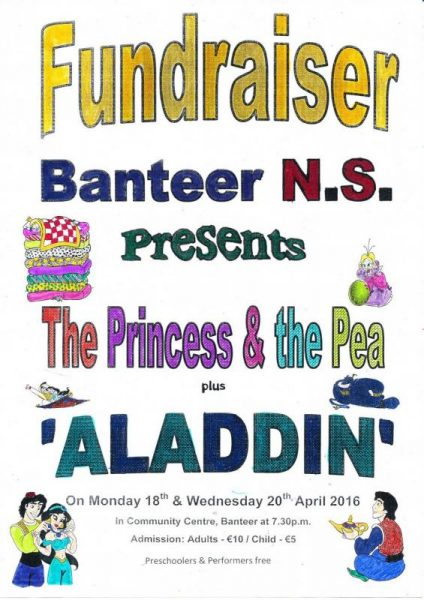 16-04-20 Banteer NS Musical - The Princess and the Pea + Aladdin - poster