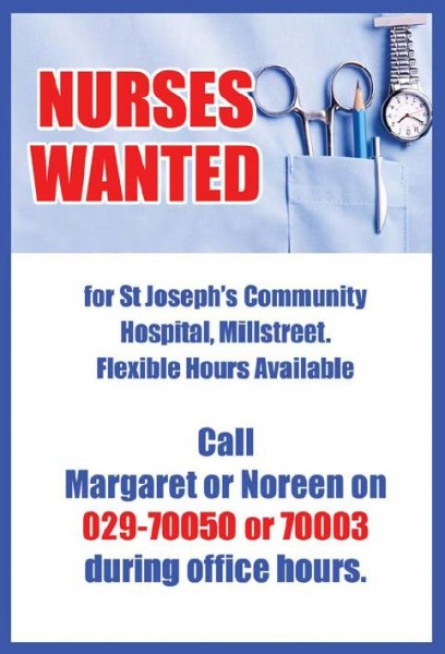 2016-04-02 Nurses Wanted for St.Joseph's Community Hospital - poster
