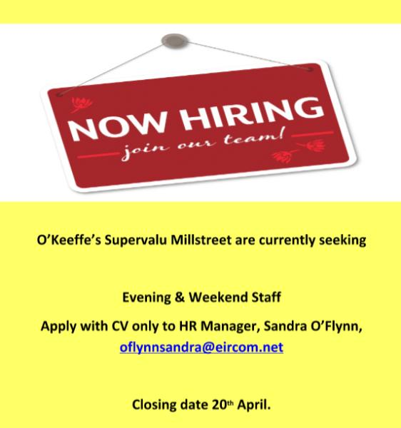 2016-04-11 SuperValu hiring weekend staff - poster