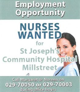 2016-04-22 Employment Opportunities at Millstreet Hospital - poster