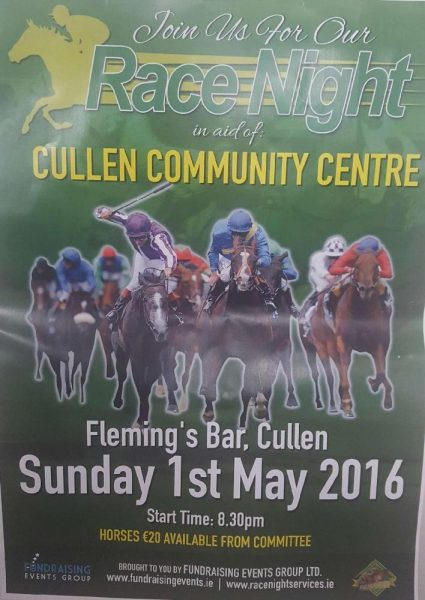 2016-05-01 Race night in Cullen, in aid of Cullen Community Centre - poster