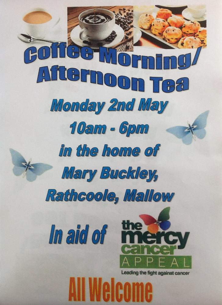 2016-05-02 Coffee Morning Afternoon Tea Fundraiser in aid of Mercy Hospital Cancer Appeal - poster_rsz