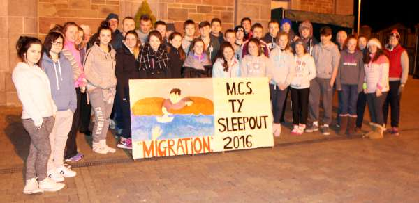 The Transition Year Students of Millstreet Community School (with some members Staff also) participated in an inspirational Sleepout 2016 to focus attention on Migration. Thankfully favourable weather conditions for the superb Group helped All to meet the very real challenge. Sincere congratulations to everyone involved in this excellent annual project. Click on the images to enlarge. (S.R.)