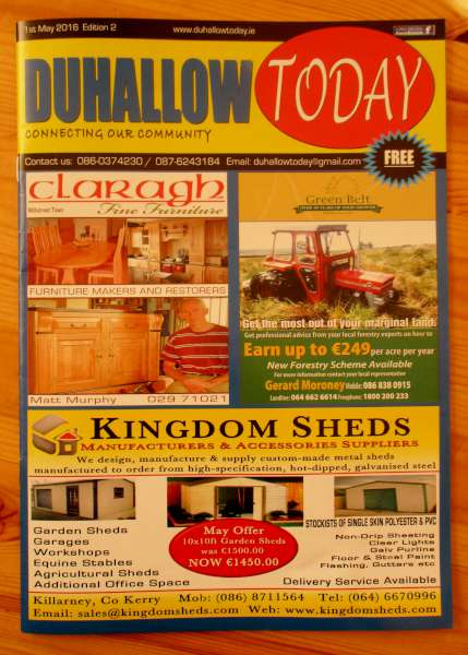 "Congratulations to Justin, Niall and the various Contributors on the wonderfully colourful May issue of ""Duhallow Today"" which also includes historic photographs from Millstreet Museum Archive. The Free issues are now available throughout Duhallow and may also be read online on the Duhallow Today website. Click on the images to enlarge. (S.R.)"