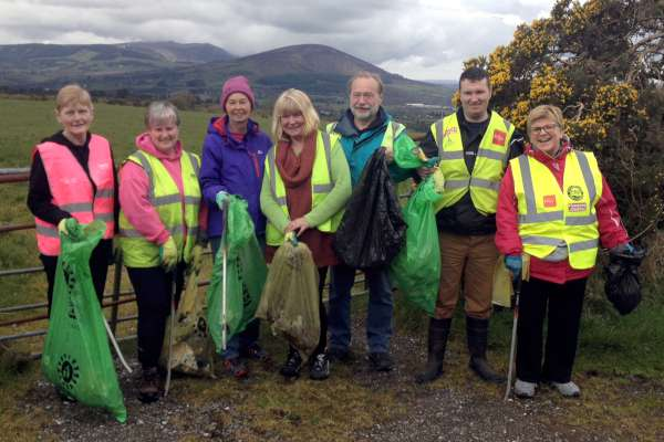 "We thank Fr. James McSweeney for recording one of the wonderfully inspiring Teams this morning in the Tullig/Aubane area who undertook a splendid litter collection in the area.  Fr. James was in this particular Team and comments: ""Different teams were out picking litter this morning  I only got a picture of one team but at least it shows the great team spirit involved!""  Click on the image to enlarge.  (S.R.)"