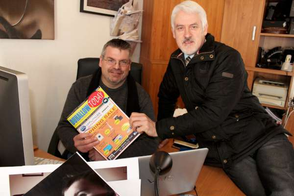 "Preparing the May 2016 issue of ""Duhallow Today"" - Justin Black and Niall O'Brien. Issue 1 was a superb success with many commenting on the excellent design, splendid photography and excellent articles. to access further information click on the following link: https://www.facebook.com/Duhallow-Today-176862576007425/ (S.R.)"