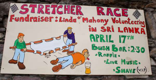 "The wonderfully creative advertisement for today's much anticipated event at ""The Bush Bar"" Millstreet in aid of Linda O'Mahony's inspiring volunteering work abroad in April 2016. Every success. Click on the images to enlarge. (S.R.)"