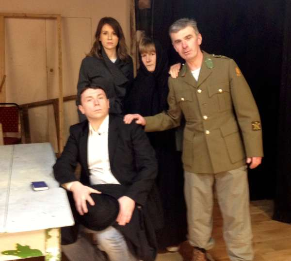 The Kitchen Scene being rehearsed with (from left) Brian O'Leary, Mary O'Leary, Margaret O'Sullivan and John O'Sullivan.