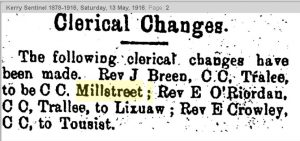1916-05-13 Fr Joe Breen to move to millstreet