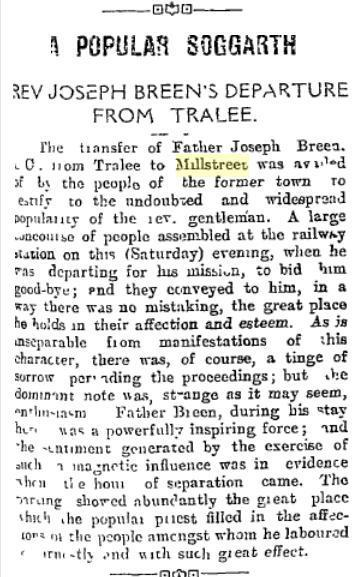 1916-05-20 Fr Joseph Breen moves to millstreet - the Kerryman