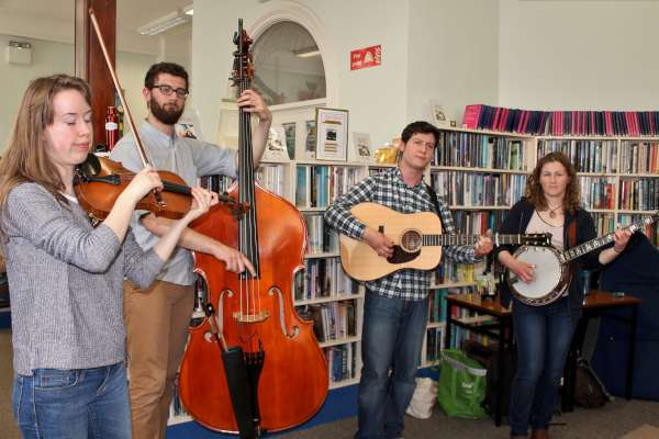 The superb Mile Twelve Bluegrass Group at Millstreet Library. We listen to their interview at 10.20pm.