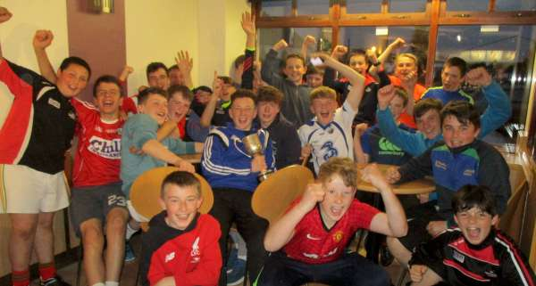 Enthusiastic joy being expressed by members of the victorious Keale Gaels team as they celebrated at Christy's Family Restaurant, Millstreet on Sunday night (29th May 2016) following their splendid 6 point win in the Rebel Óg Under14 Hurling B Final at Kilbrin. Click on the images to enlarge. (S.R.)