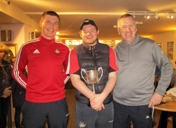 The very happy Team Coordinators at the celebration - from left: Selector Eoin Dennehy with Team Trainers Darragh Crowley ( Dromtariffe Coach) and John Hartnett (Millstreet Coach)