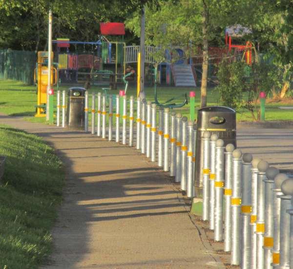 Recent uplifting developments at Millstreet Town Park include the placement of these very impressive new bollards and the opening up and landscaping of the area close to the Dressing Room areas and Playground