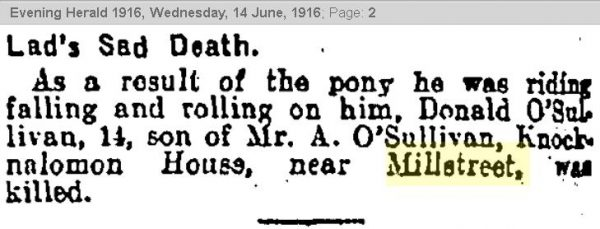 1916-06-14 donald o'Sullivan killed when pony rolled on him