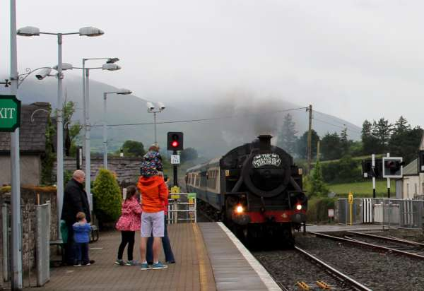 "Here we view the very fine recording of Ita Fitzgerald's image of Saturday's return of ""The Emerald Isle Explorer"" Steam Train to Millstreet Station where we were privileged to meet with Kieran Wyse whom we interviewed for LTV2 Millstreet and who later emailed superb information which we share below. Click on the pictures to enlarge. (S.R.)"