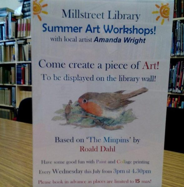 2016-06-29 Summer Art Workshops at Millstreet Library - poster