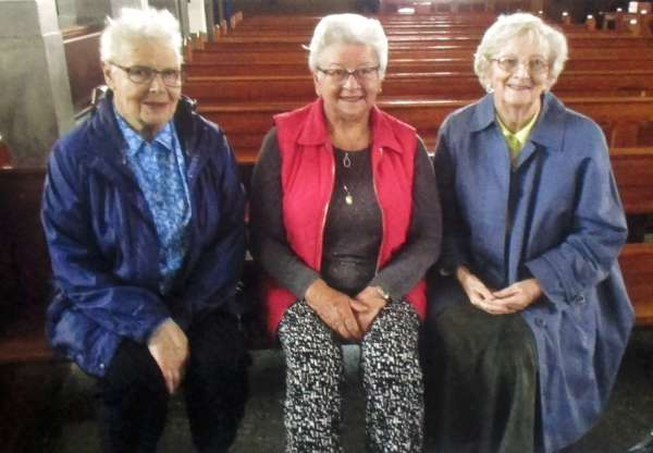 After 10.00 a.m Mass on Thursday (16/6/'16 - Bloom's Day) celebrated by Fr. Paddy O'Byrne - three ladies who had been in the same class at Presentation N.S., Millstreet met to recall happy memories.  From left - Bridget King, Eily Buckley and Sr. Mary Moynihan (presently at home on holidays from the Mercy Order, Rockhampton, North Queensland, Australia.  Click on the image to enlarge.  (S.R.)