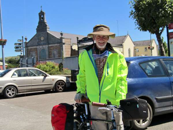 Fr. Michael O'Shea, SMA - who has Carrigacooleen roots arrived at Millstreet Museum having cycled from Cork beginning at 5.30 a.m. - then followed The Butter Road and was expecting to arrive in Castleisland by nightfall. He dined at The Wallis Arms Hotel to recharge his energy. The main window over the entrance to our Church was donated by the O'Shea Family of Carrigacooleen and Cork.