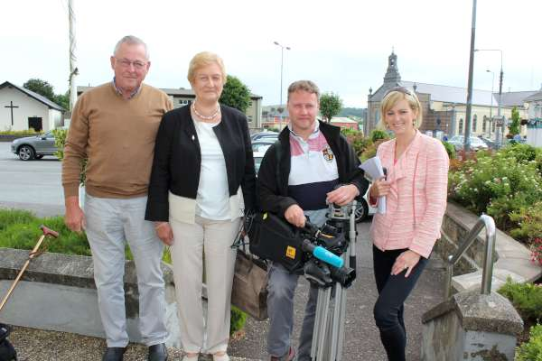 "This morning Grett O'Connor of RTÉ/TG4 requested a brief interview re MS Ireland at Millstreet Museum regarding an uplifting development in the treatment of MS which is being researched in Belfast. From left: Donal and Maura Murphy (Newmarket) of the Cork N.W. Branch of MS Ireland; Cameraman Martin Hartnett and Presenter Grett O'Connor. All going well the interview will feature on RTÉ1 ""Nuacht"" at 5.45pm this evening and also on TG4's ""Nuacht"" at 7pm also this evening. Click on the images to enlarge. (S.R.)"