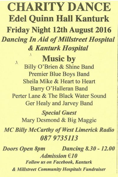 Charity Dance in aid of Millstreet & Kanturk Hospitals - poster-1000