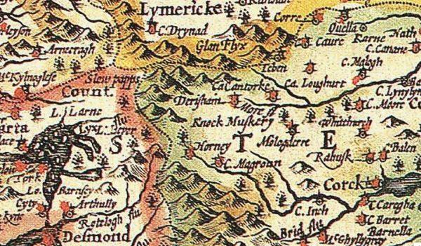 1610 John Speed map of Ireland