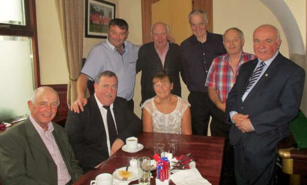 Cork Music Station Network Team attending the post-funeral reception in Bob's Bar and Restaurant, Ballydesmond. From left (seated - Barry, William whose dear Mum went to her Eternal Reward, Breeda. Standing from left: Pat, T.T., Mike, Liam and Seán.