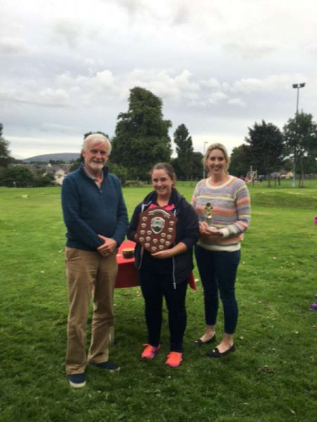 Discount Store Trophy presentation . Barry Frazer, Deirdre Looney and runner up Mairead Reen