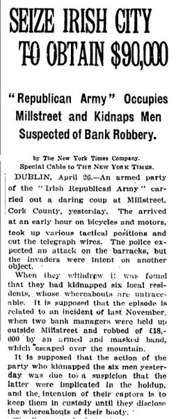1920-04-27 Seize Irish City to obtain $90,000 - Headline on the New York Times