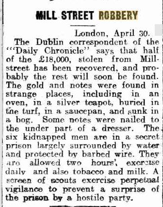 1920-04-30 Millstreet Bank Robbery - Money found in strange places - Kalgoorlite Miner