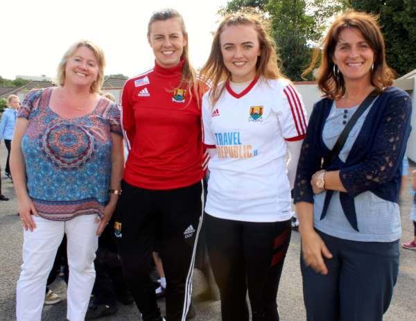 Being welcomed by (on left) teachers Maria Casey and Siobhán O'Leary -