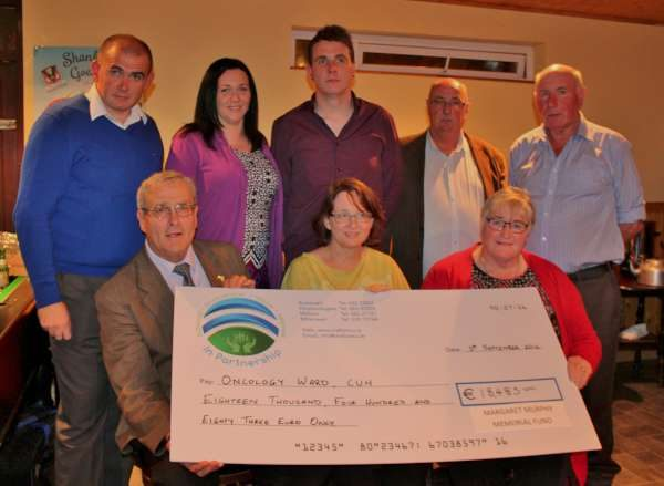 A truly magnificent cheque for €18,483.00 - the resulted of a wonderful series of fund-raising projects for the Margaret Murphy Memorial Fund - was presented to Dr. Deirdre O'Mahony of the Oncology Dept of CUH by Family of John Murphy at a most impressive function in the Corner House Bar at Shanballymore on Sat. 3rd Sept. 2016. Seated from left: John Murphy (husband of the late Margaret), Dr. Deirdre O'Mahony and Anne Mullane (sister of Margaret). Back row from left: Brian, Fiona and Shane (Family of John and the late Margaret), Donal and Martin Curtin (brothers of the late Margaret). Click on the image to enlarge. (S.R.)