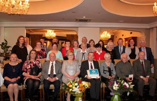At a superb function in the Royal Hotel, Killarney on Friday night (21st Oct. 2016) four wonderfully dedicated Committee Members of Millstreet Parish Credit Union were made presentations by MC supreme Joseph Lawler (holding the official cake). The four recipients (pictured below) are from left: Liam Coffey, Margaret Bourke, Phil Twomey and Dermot Kiely. Click on the images to enlarge. (S.R.)