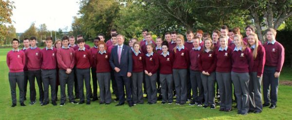 Minister for Agriculture & Fisheries Michael Creed, T.D. visited Millstreet Community School on Friday, 30th Sept. 2016 where he addressed the Students and participated in a Question & Answer as well as helping to dig the excellent crop of potatoes grown by the Students for their Ag. Science Projects. Click on the images to enlarge. (S.R.)