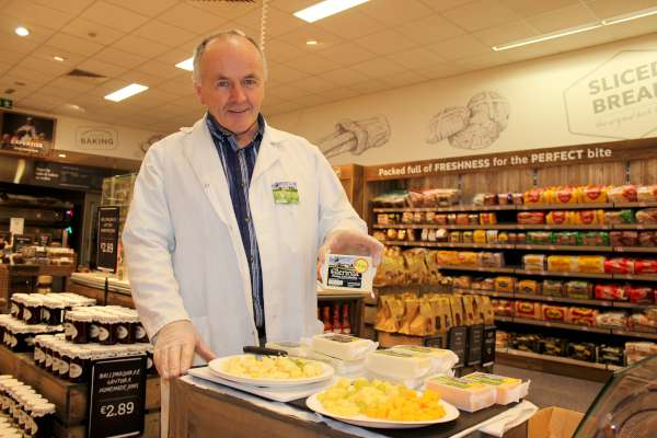Maurice Angland promoting his renowned Glenlara Cheese at the magnificent new look Supervalu Store in Minor Row, Millstreet. Click on the images to enlarge. (S.R.)