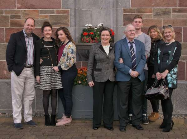 Members of the Murphy, Brennan and O'Riordan Families pictured after the Anniversary Mass at St. Patrick's Church today.  Included at centre is Sheila Brennan (nee O'Riordan of Lackabawn, Millstreet).  Click on the images to enlarge.  (S.R.)