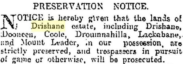1916-12-11-notice-that-hunting-is-not-allowed-on-drishane-lands-includes-lackabane_rsz