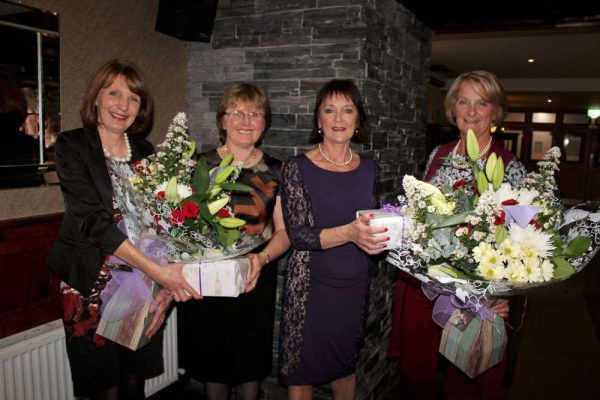 In October 2016 at The Wallis Arms Hotel Millstreet INTO paid tribute to two wonderfully dedicated Teachers who have retired. From left: Mary Magner of INTO headquarters presenting Noreen Murphy who retired as Principal of Dromagh N.S.. Mary Browne who retired from the Presentation N.S., Millstreet is made a presentation by Joan O'Mahony of Millstreet INTO. Click on the images to enlarge. (S.R.)