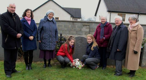 Present for the special occasion this morning - from left: Canon John Fitzgerald, P.P., Deputy Principal MCS Frances Moynihan, Presentation Sr. Kathleen, Students Dervla Murphy and Joanie Tarrant, Presentation Sr. Eileen, Principal MCS Pat Pigott and Mona Linehan.