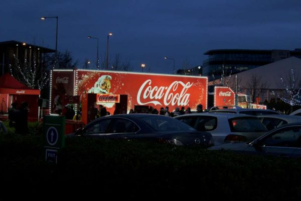We view the famous Coca Cola Santa Lorry in Mahon.